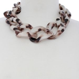 Beige Chunk Resin Statement Necklace
